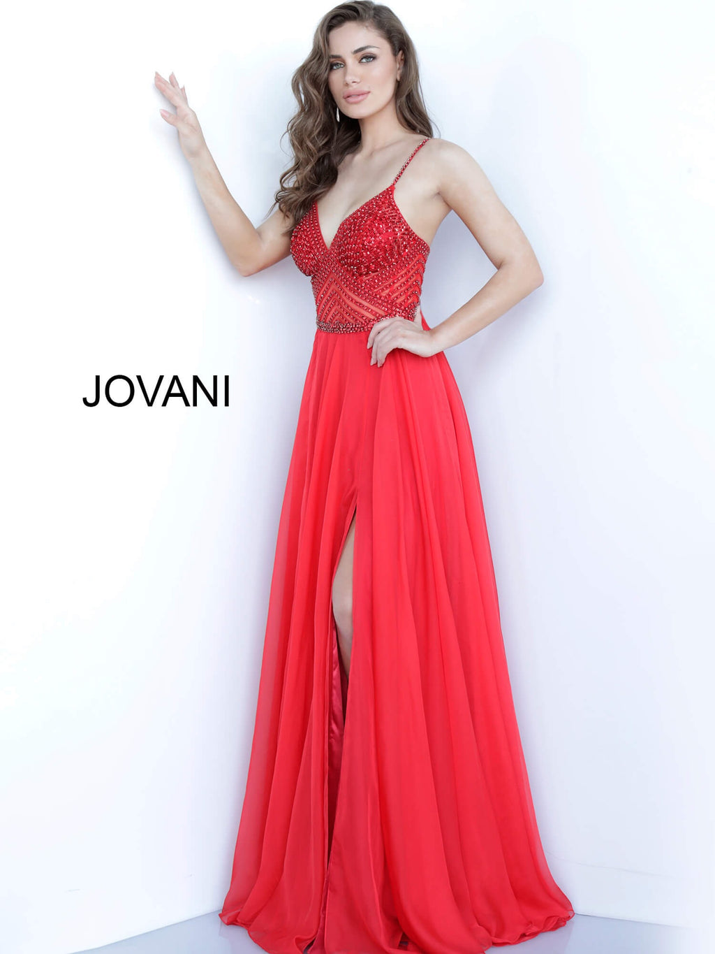 JOVANI 66925 Beaded Bodice Chiffon Evening Dress - CYC Boutique