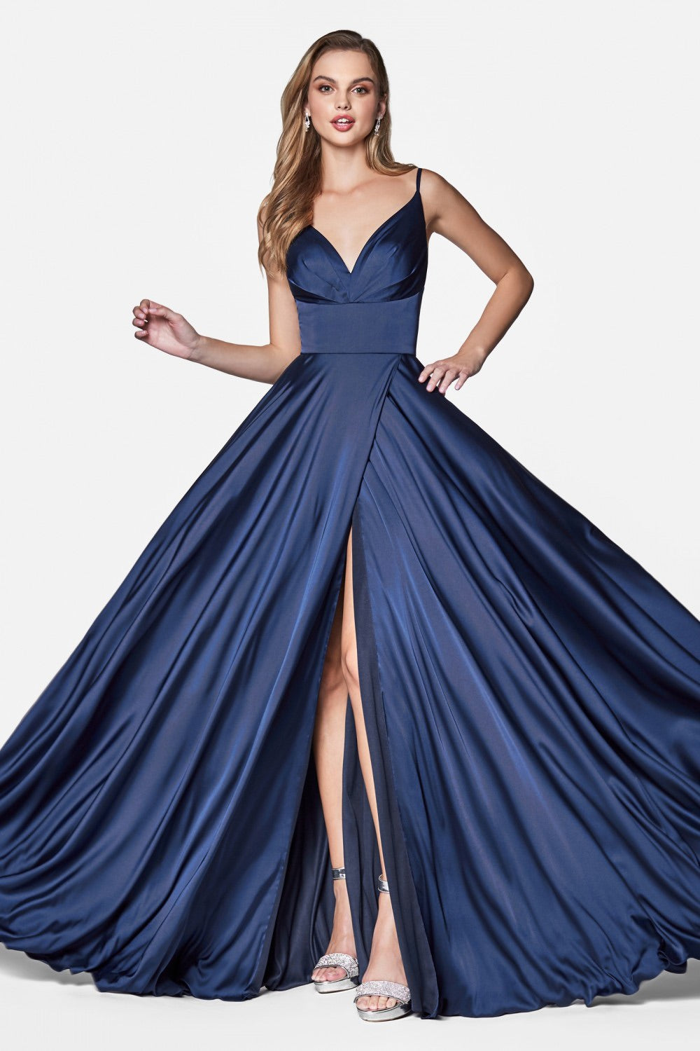 Cinderella Divine 7472 Satin A-Line Gown with High Slit - CYC Boutique