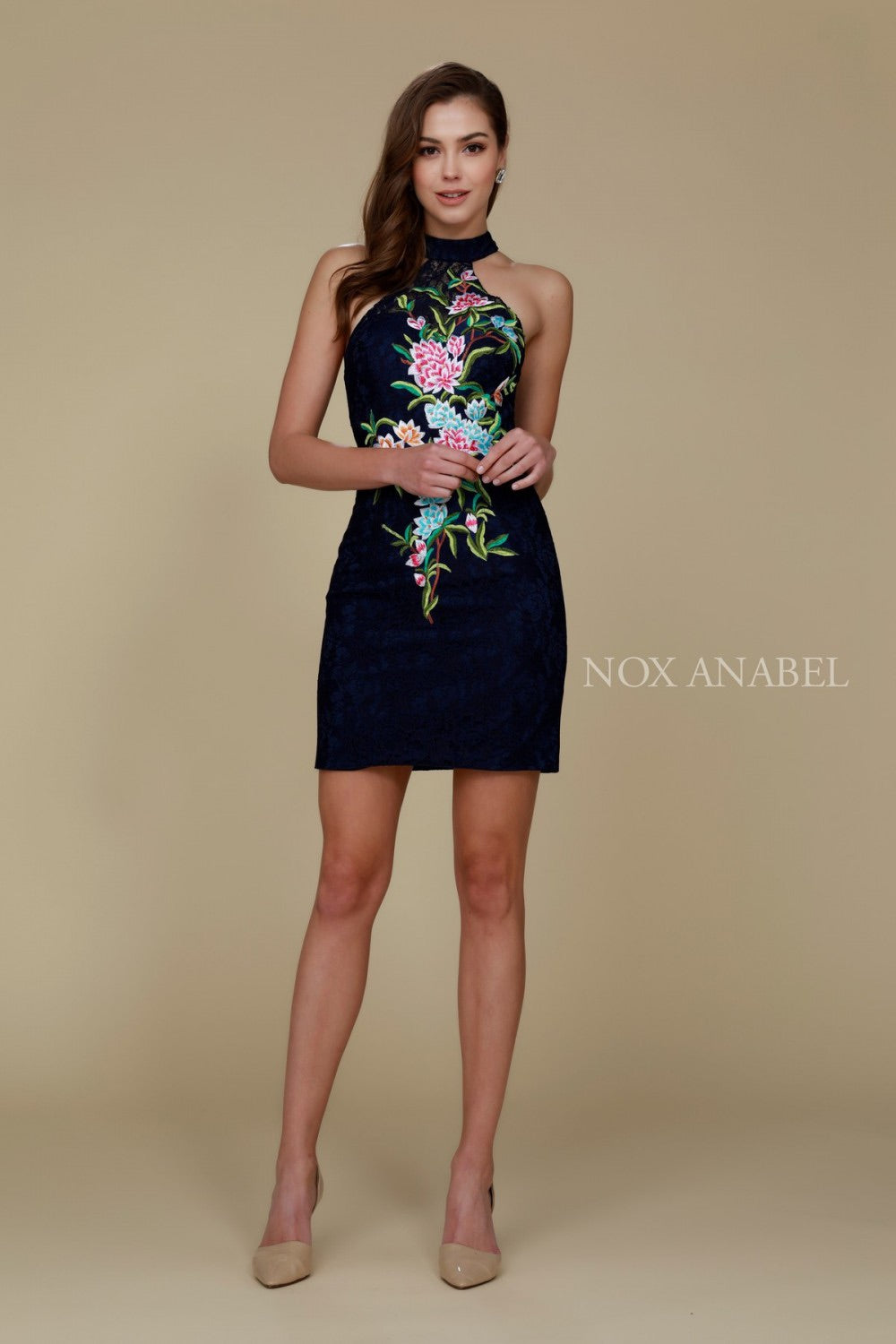 Nox Anabel 6334 Halter Lace Sheath Dress