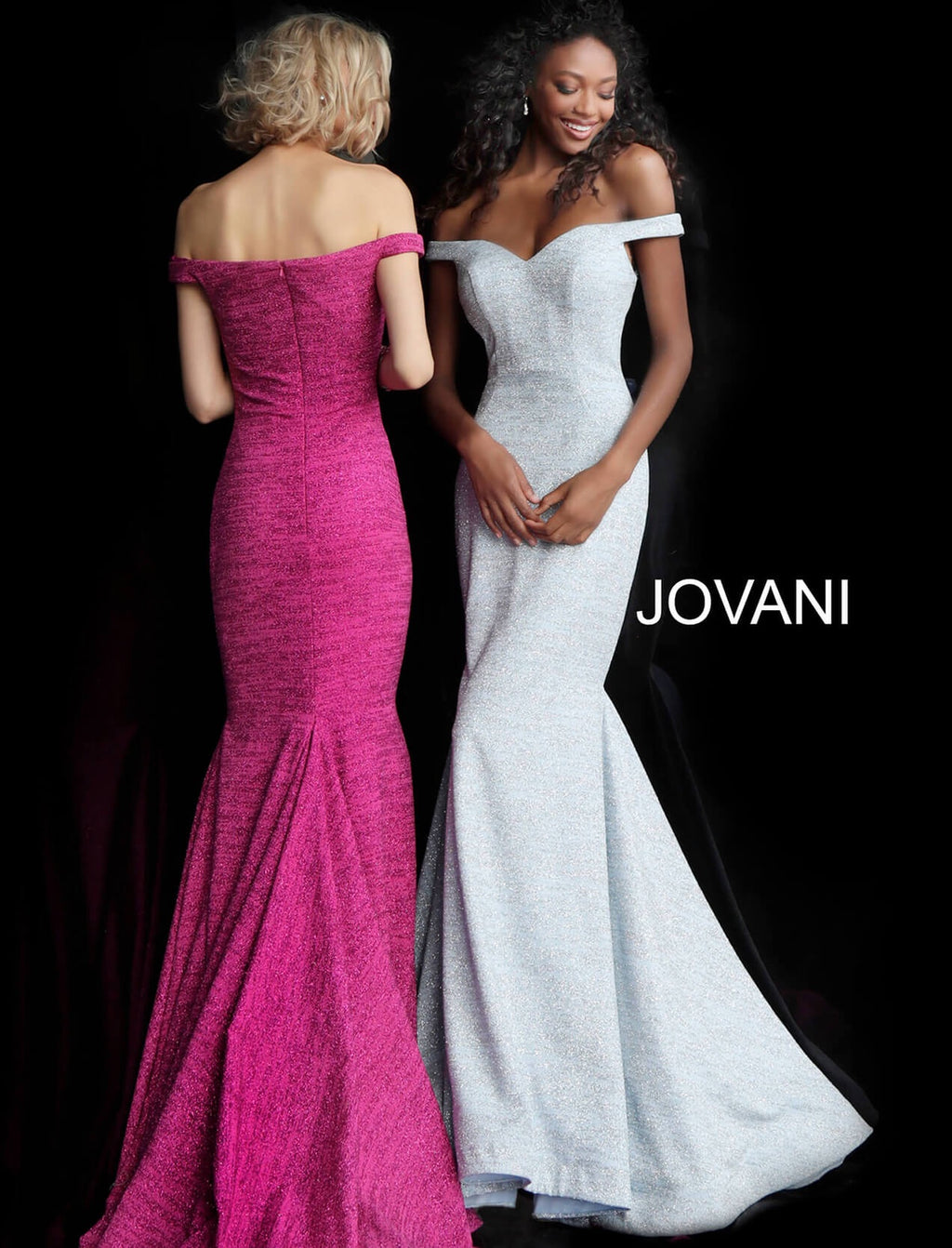 JOVANI 60122 Off Shoulder Glitter Evening Dress