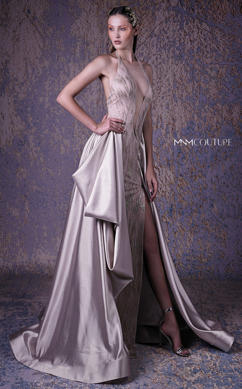 MNM Couture G1030 Embellished Deep V-Neck Evening Gown - CYC Boutique