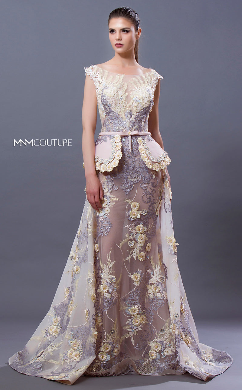 MNM Couture K3650 Floral Embroidered Dress with Overskirt - CYC Boutique