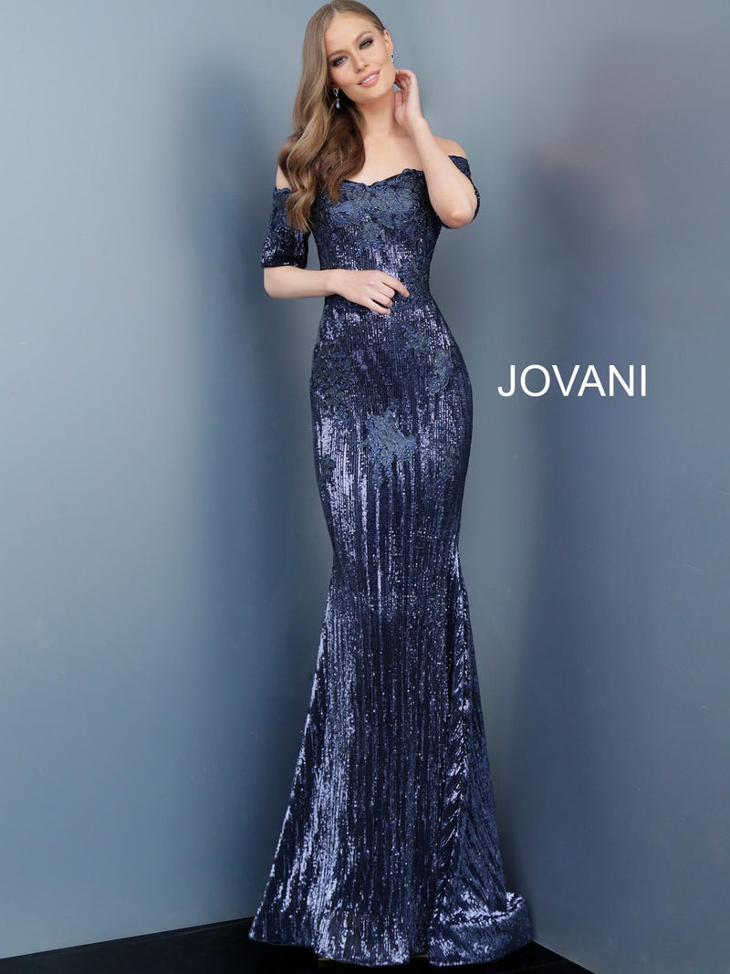 JOVANI 67104 Embellished Short Sleeve Evening Gown - CYC Boutique