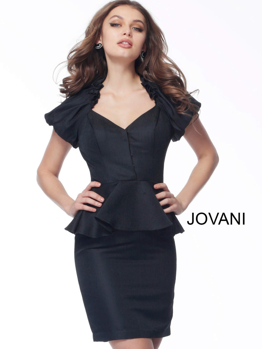 JOVANI 171598 Peplum V-Neck Cocktail Dress