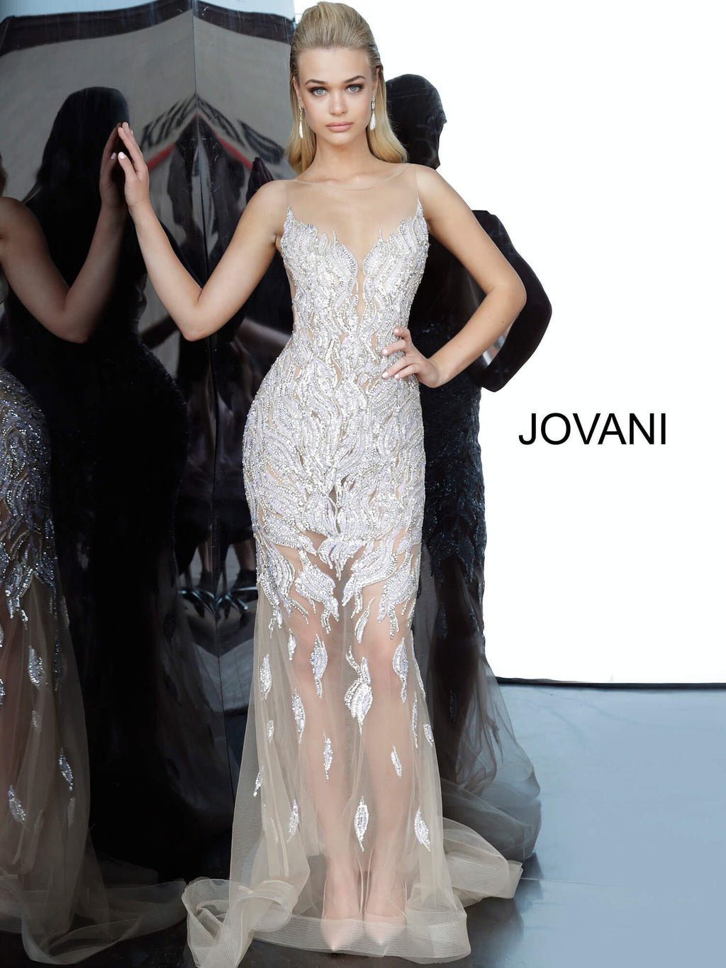 JOVANI 67786 Sheer Embellished Evening Dress