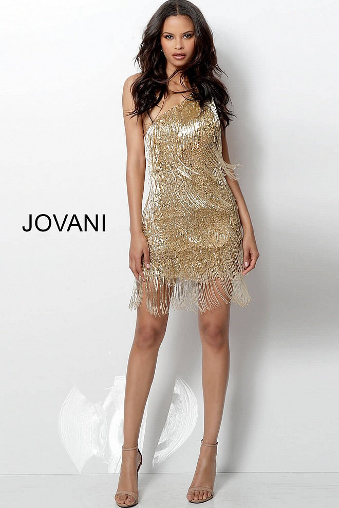 JOVANI 616841 Gold One Shoulder Fringe Dress - CYC Boutique