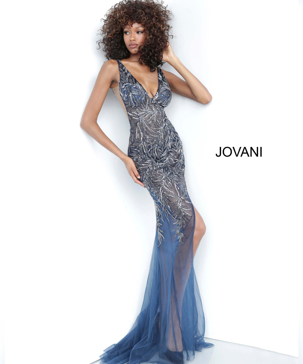JOVANI 1863 Embellished Tulle Trumpet Dress
