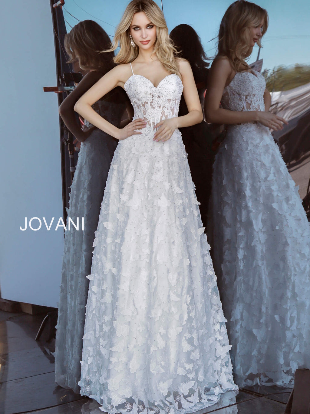 JOVANI 54969 Floral Appliqué Evening Dress - CYC Boutique
