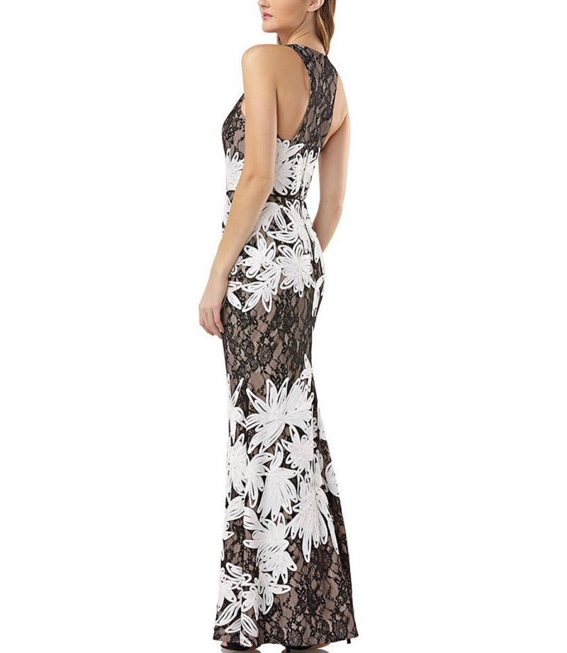 JS Collections Soutache Embroidered Lace Gown - CYC Boutique