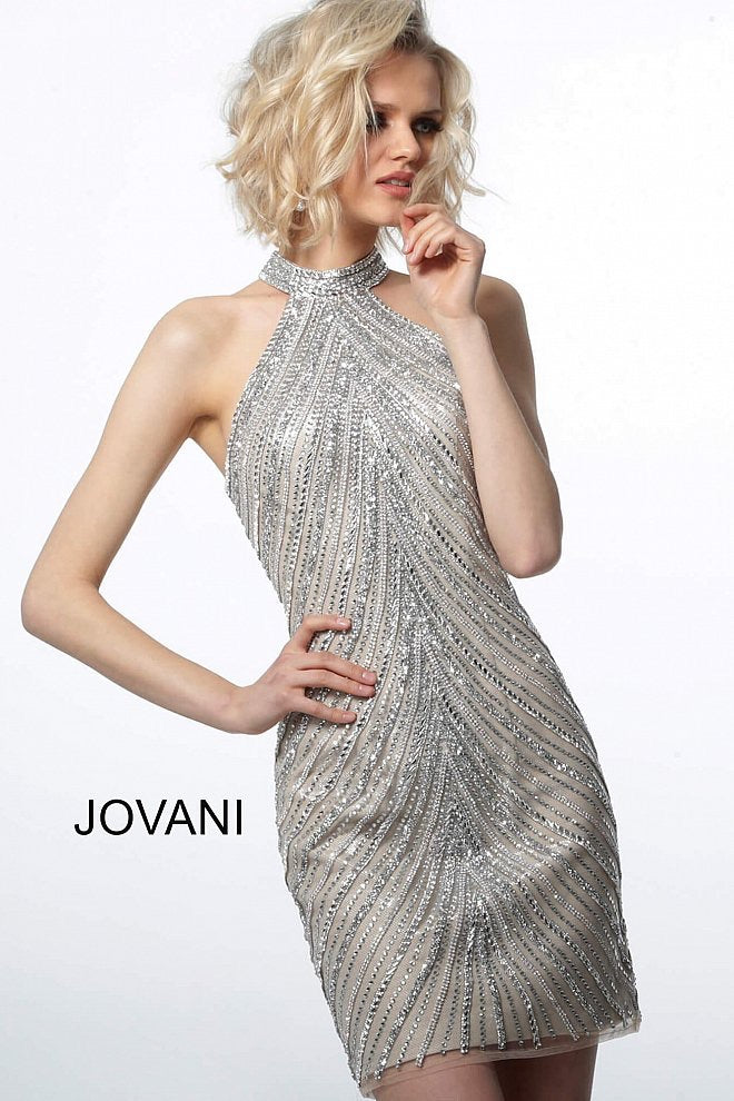 JOVANI 3834 Embellished Halter Neck Dress - CYC Boutique