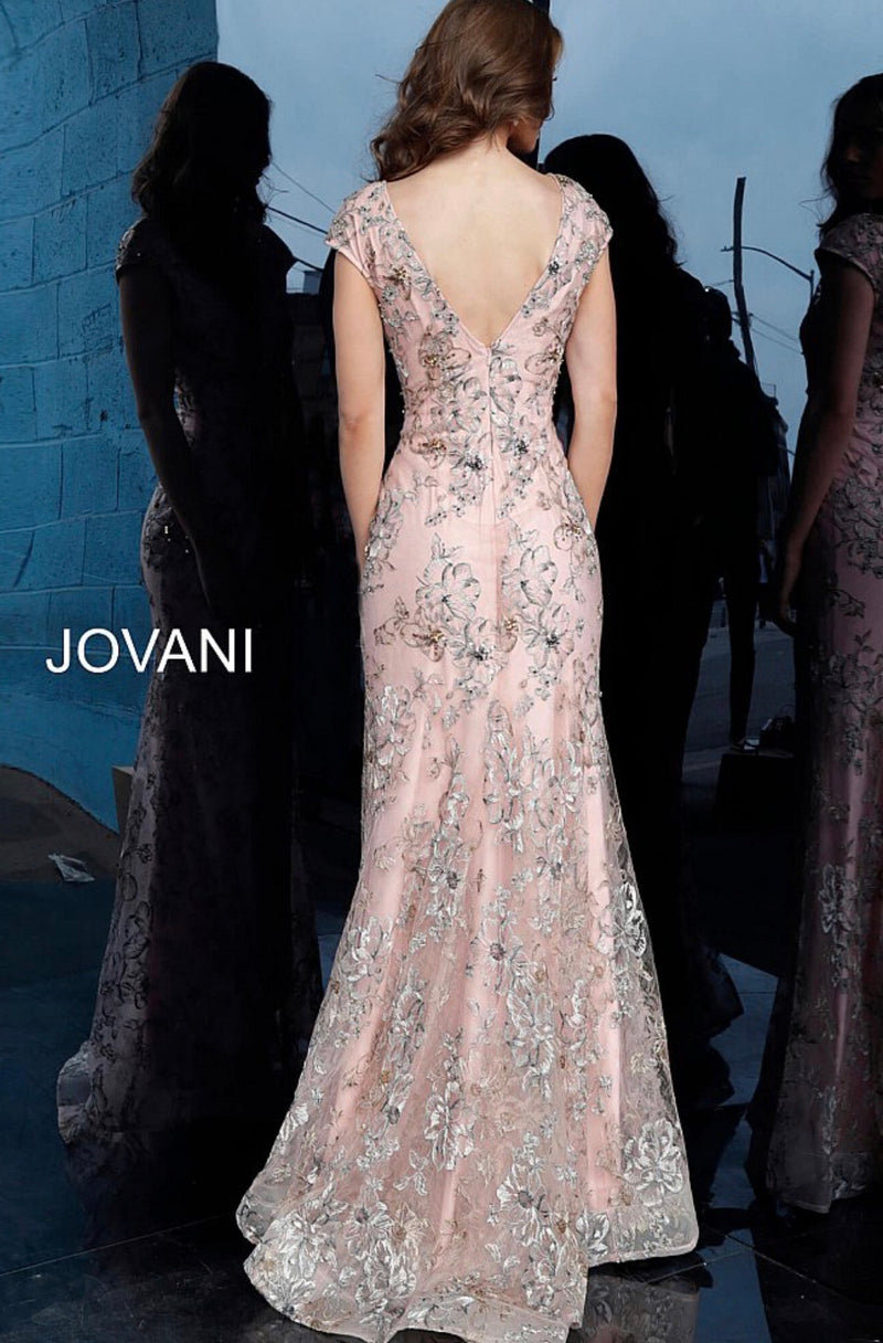 JOVANI 62075 Pink Plunging Neckline Evening dress - CYC Boutique