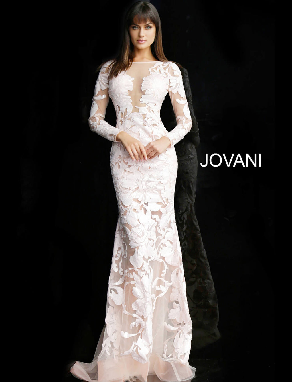 JOVANI 60285 Sequin Embellished Long Sleeve Evening Dress