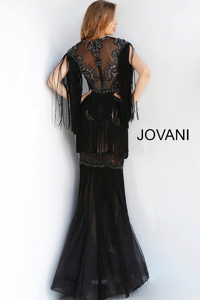 JOVANI 64137 Embellished Fringe Evening Dress - CYC Boutique