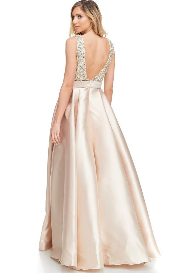 Crystal Embellished Bodice Mikado Gown - CYC Boutique