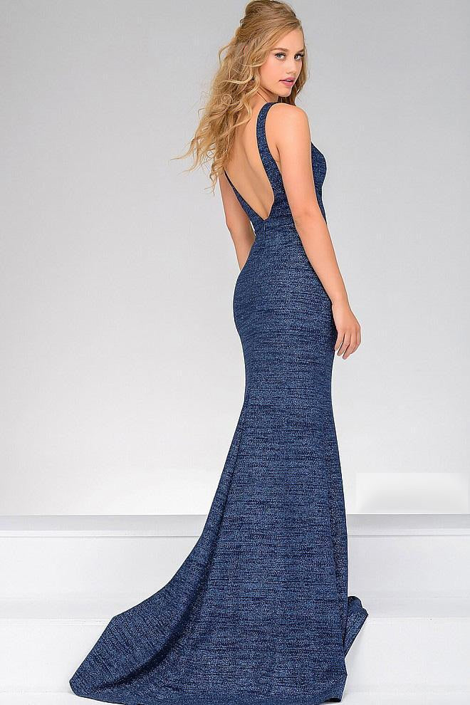 JOVANI 45812 Fitted Jersey Plunging Neckline Dress