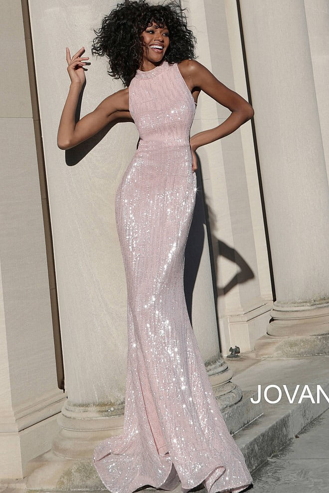 JVN63552 High Neck Sequin Evening Dress