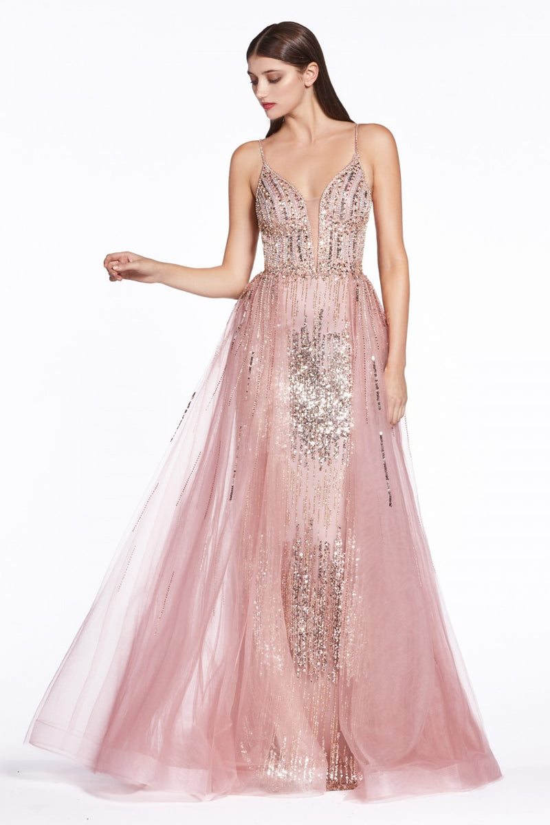 Cinderella Divine CR841 Glitter Dress with Tulle Overskirt - CYC Boutique