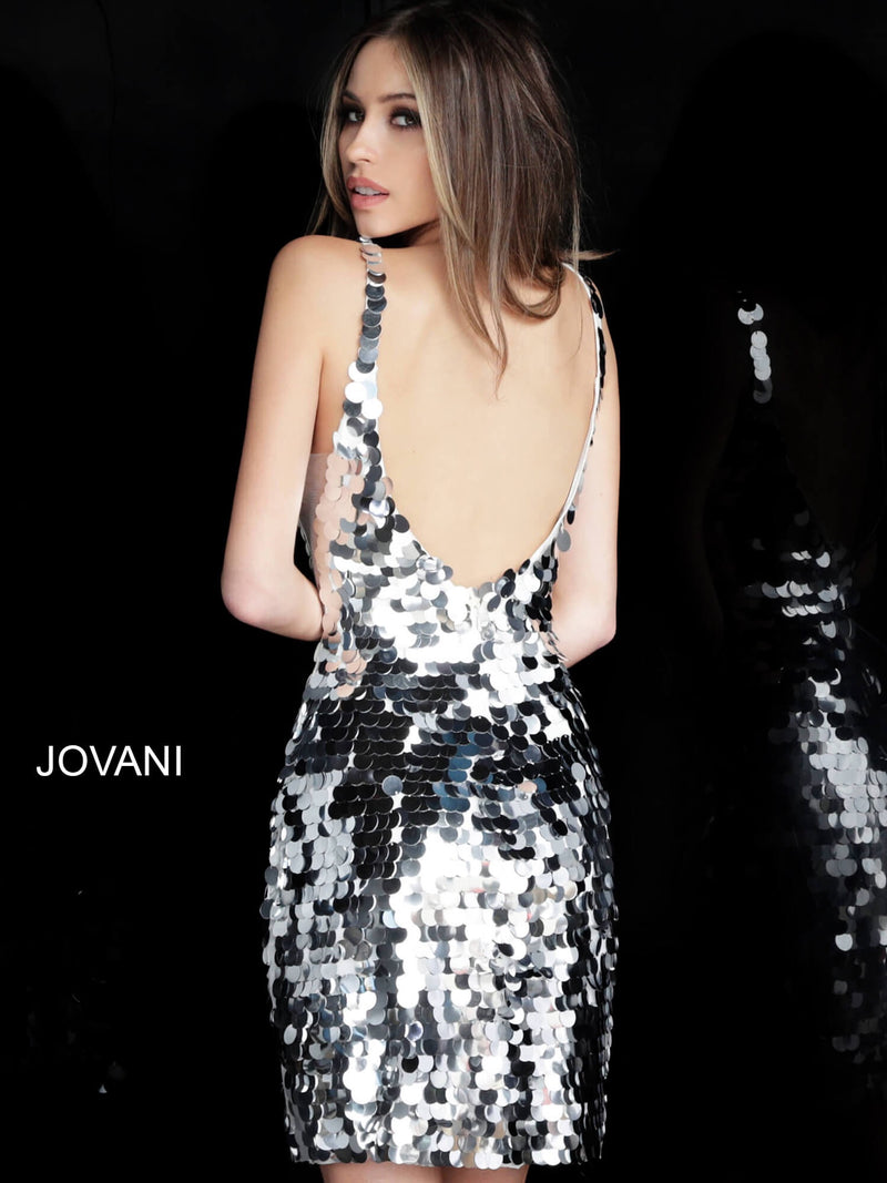 JOVANI 62025 Sleeveless Fitted Paillette Cocktail Dress - CYC Boutique