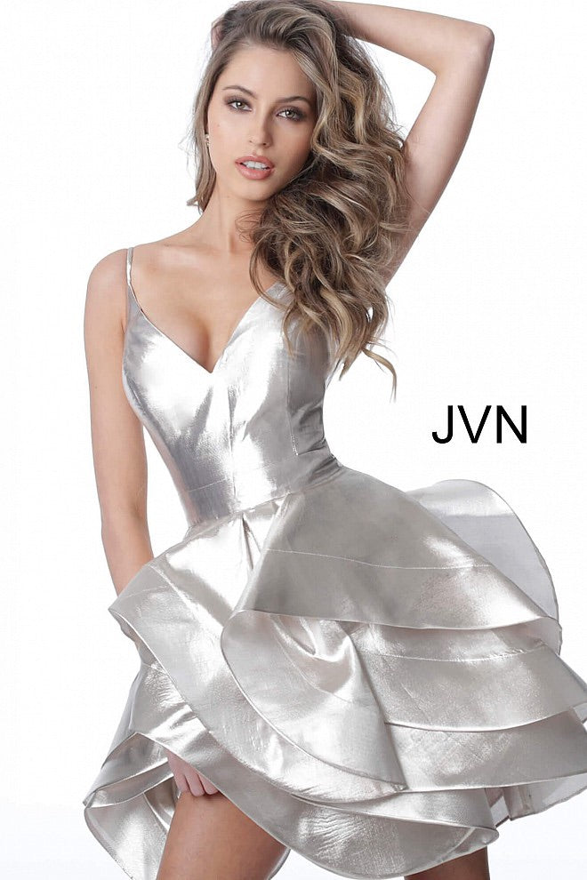 JOVANI JVN2386 Champagne V Neck Layered Skirt Cocktail Dress - CYC Boutique