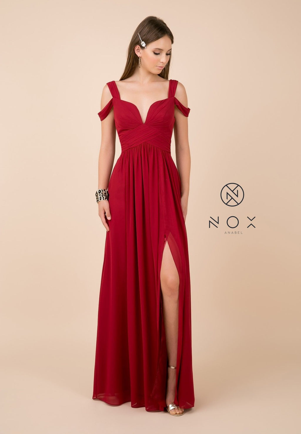Nox Anabel Y277 Cold Shoulder A-Line Evening Dress