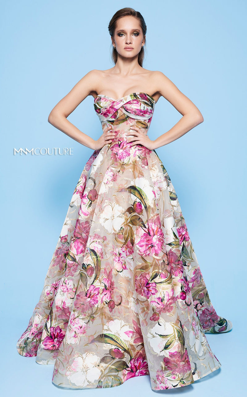 MNM Couture N0235 Strapless Floral A-Line Dress - CYC Boutique