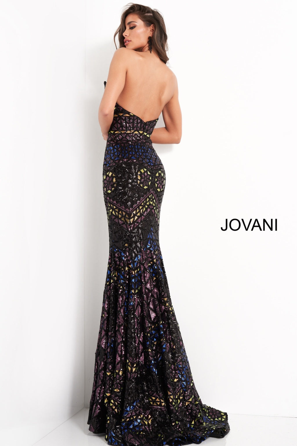 Jovani 04832 Black Multi Embellished Strapless Evening Dress