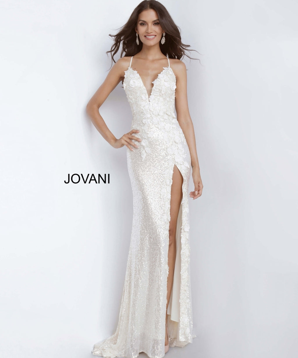 Jovani 1012 Plunging Neckline Evening Dress