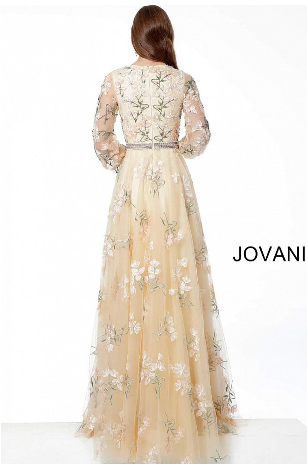 JOVANI 65637 Embroidered Long Sleeve Maxi Dress - CYC Boutique