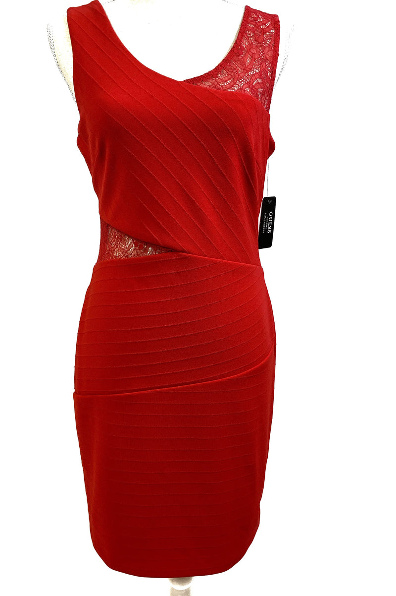 Guess Red Lace Cut Out Dress, Size 10 - CYC Boutique