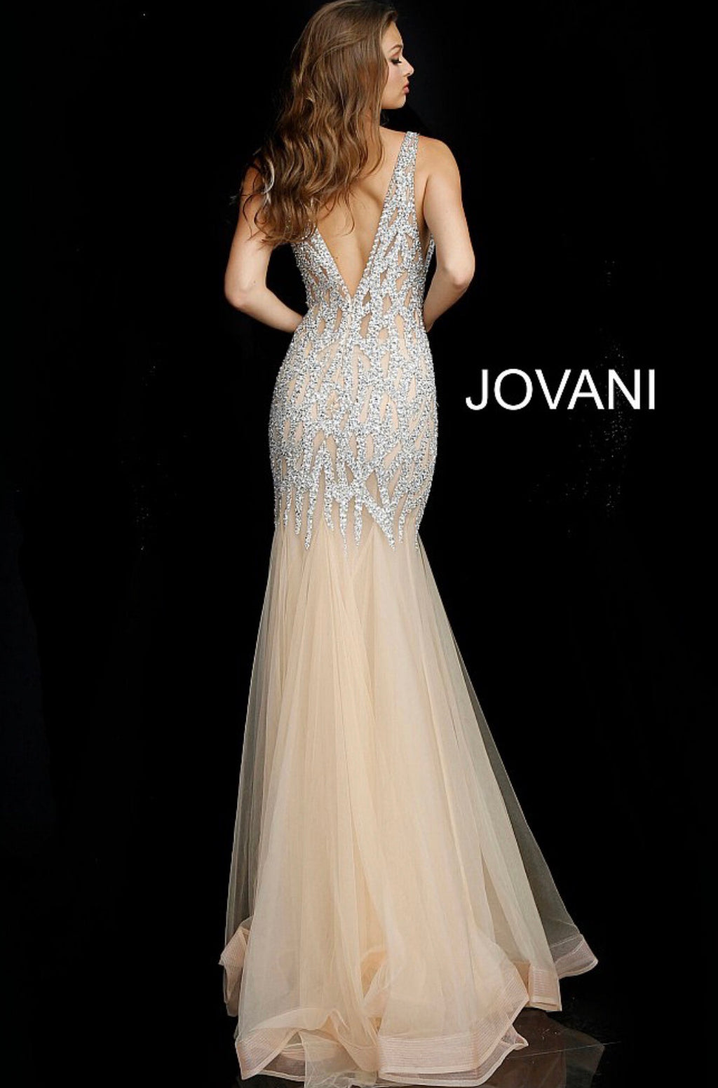JOVANI 59717 Beaded Plunging Neckline Evening Dress - CYC Boutique