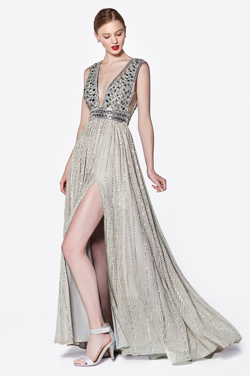 Cinderella Divine CK892 Beaded Bodice Plunging Evening Gown - CYC Boutique