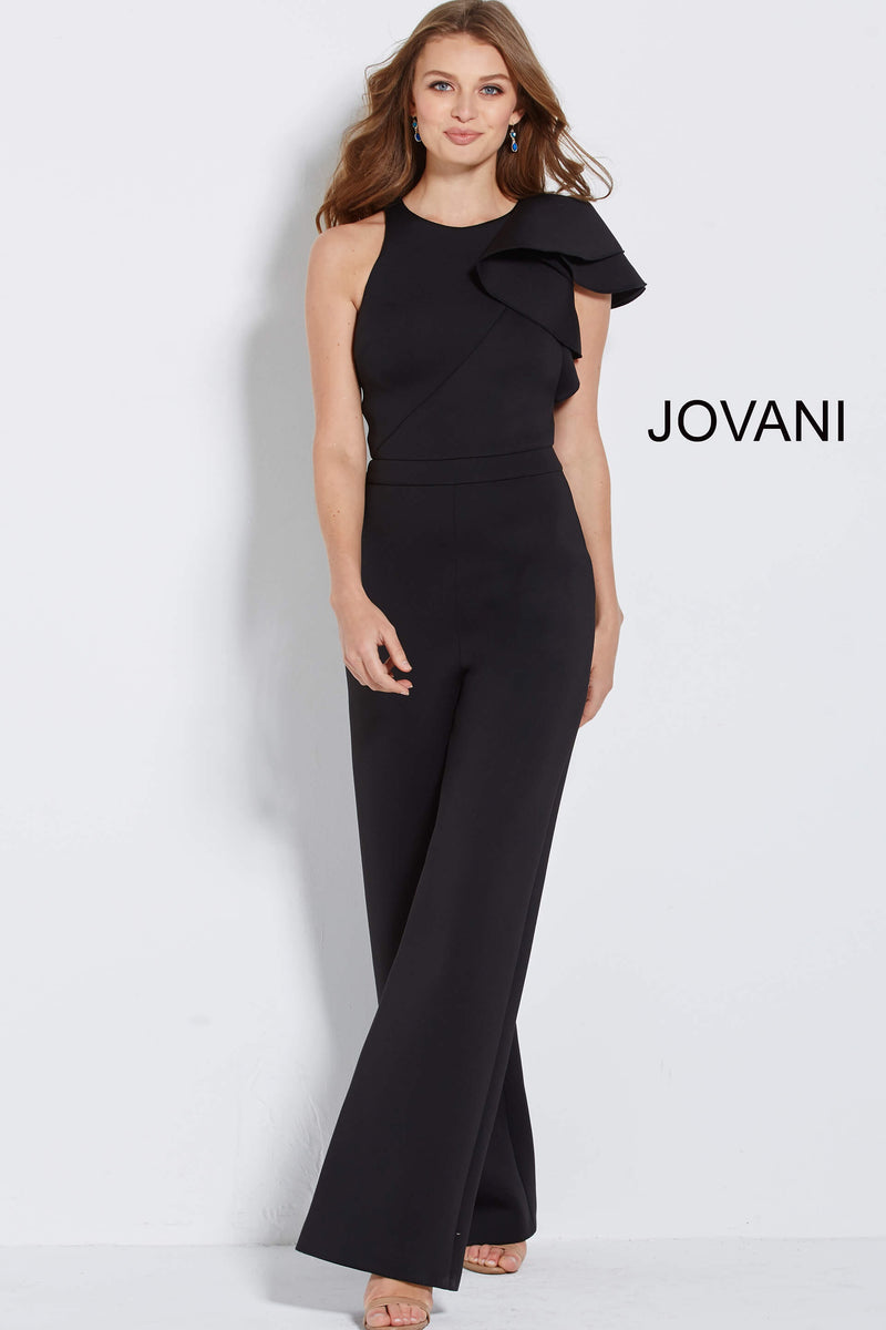 JOVANI 57239 Ruffled Cap Sleeve Scuba Jumpsuit - CYC Boutique