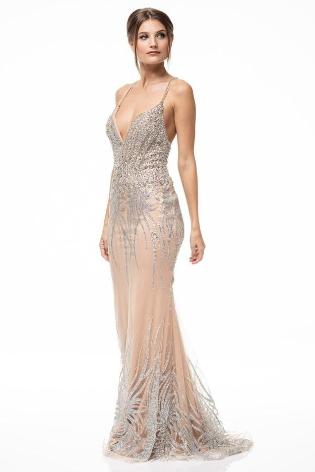 Crystal Embellished Deep V-Neck Evening Dress - CYC Boutique