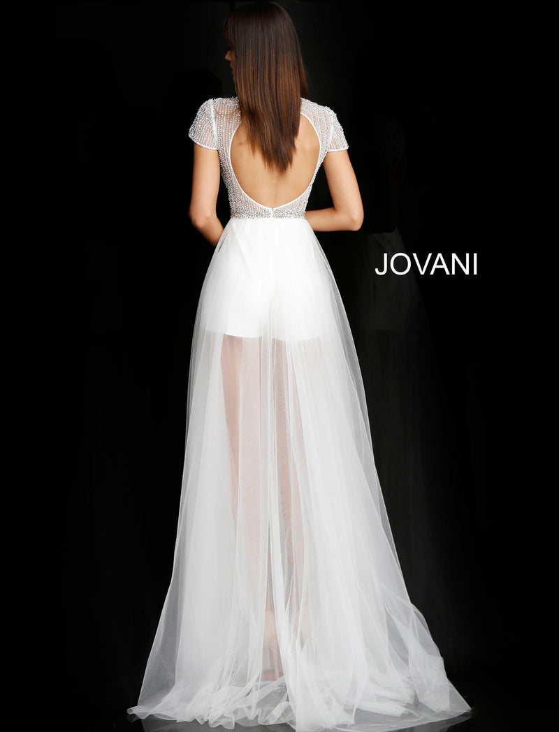 JOVANI 65590 Short Sleeve Sheer Neckline Bridal Dress - CYC Boutique