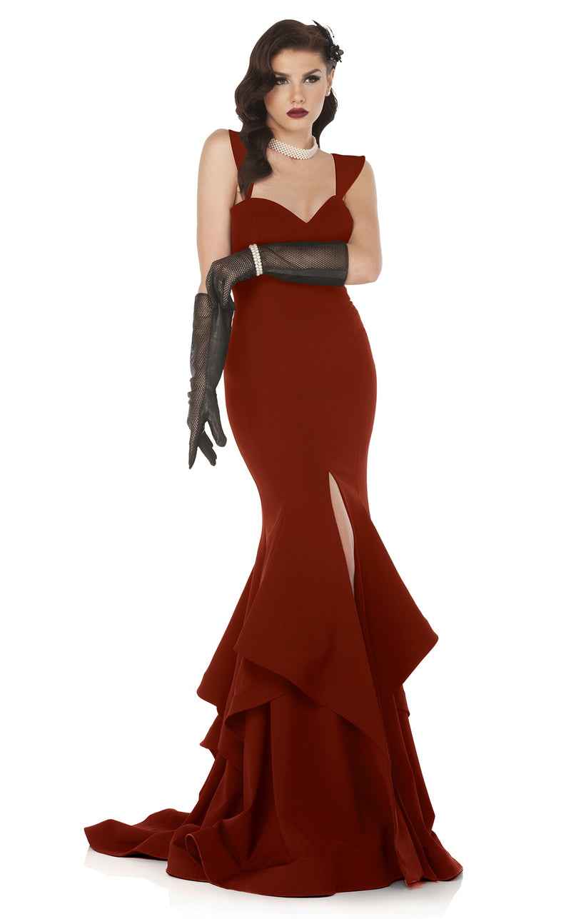 MNM Couture N0020 Tiered Ruffles Mermaid Gown - CYC Boutique