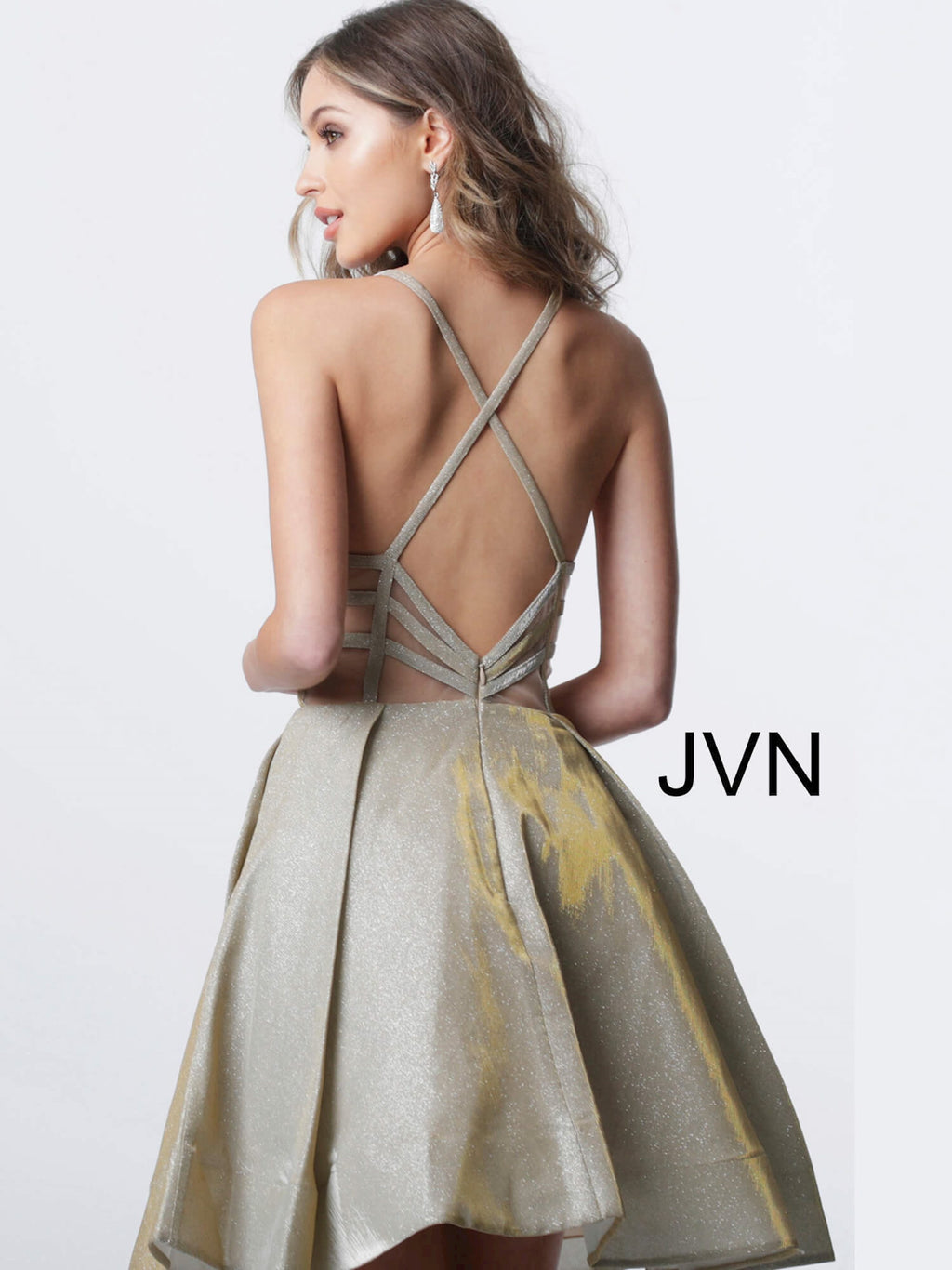 JOVANI JVN65852 Fit and Flare Plunging Neckline Dress - CYC Boutique
