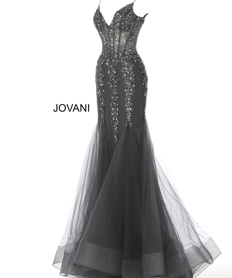 JOVANI 56032 Embellished Mermaid Dress with Choker - CYC Boutique