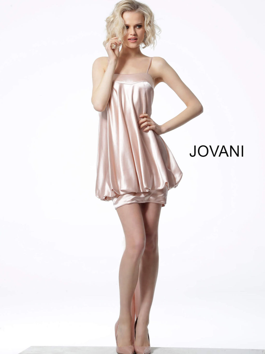 JOVANI 66431 Satin Baby Doll Dress - CYC Boutique
