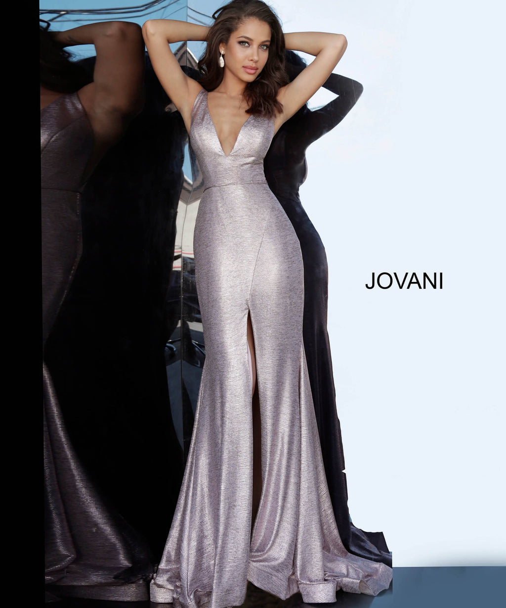 JOVANI 67963 High Slit Metallic Evening Dress - CYC Boutique