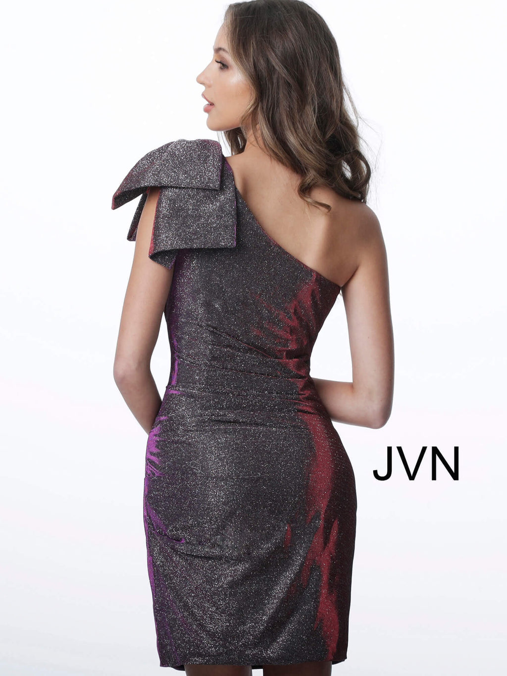JOVANI JVN2132 One Shoulder Glitter Dress - CYC Boutique