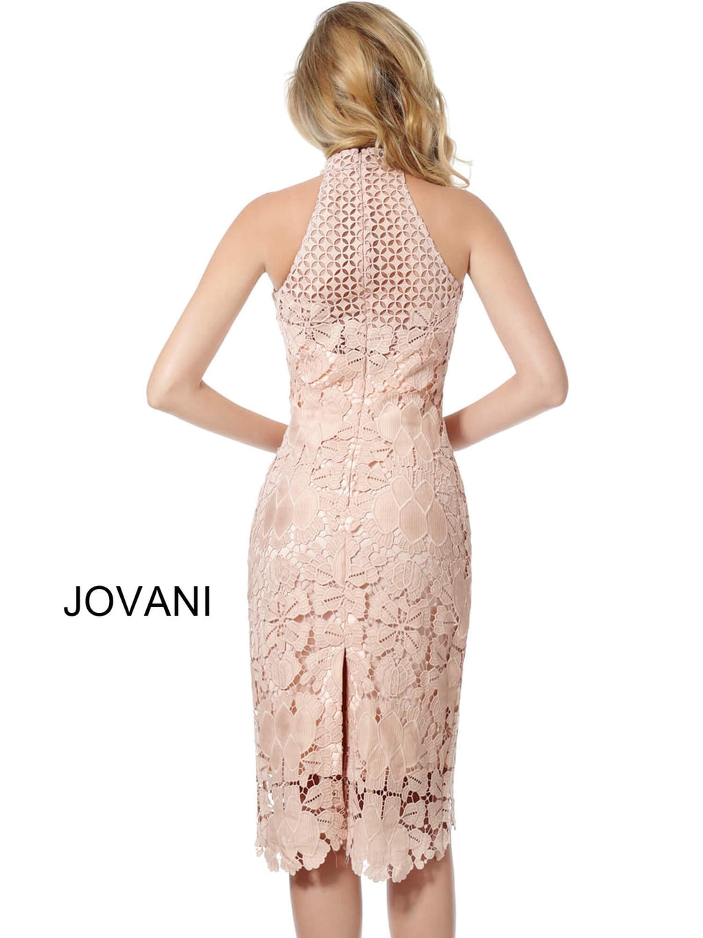 JOVANI 68747 Light Pink High Neck Sleeveless Lace Cocktail Dress