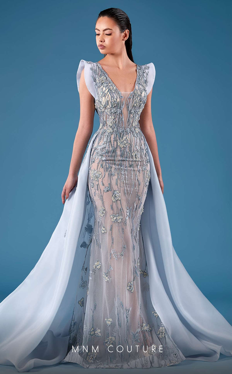 MNM Couture K3755 Fitted Embroidered Evening Dress