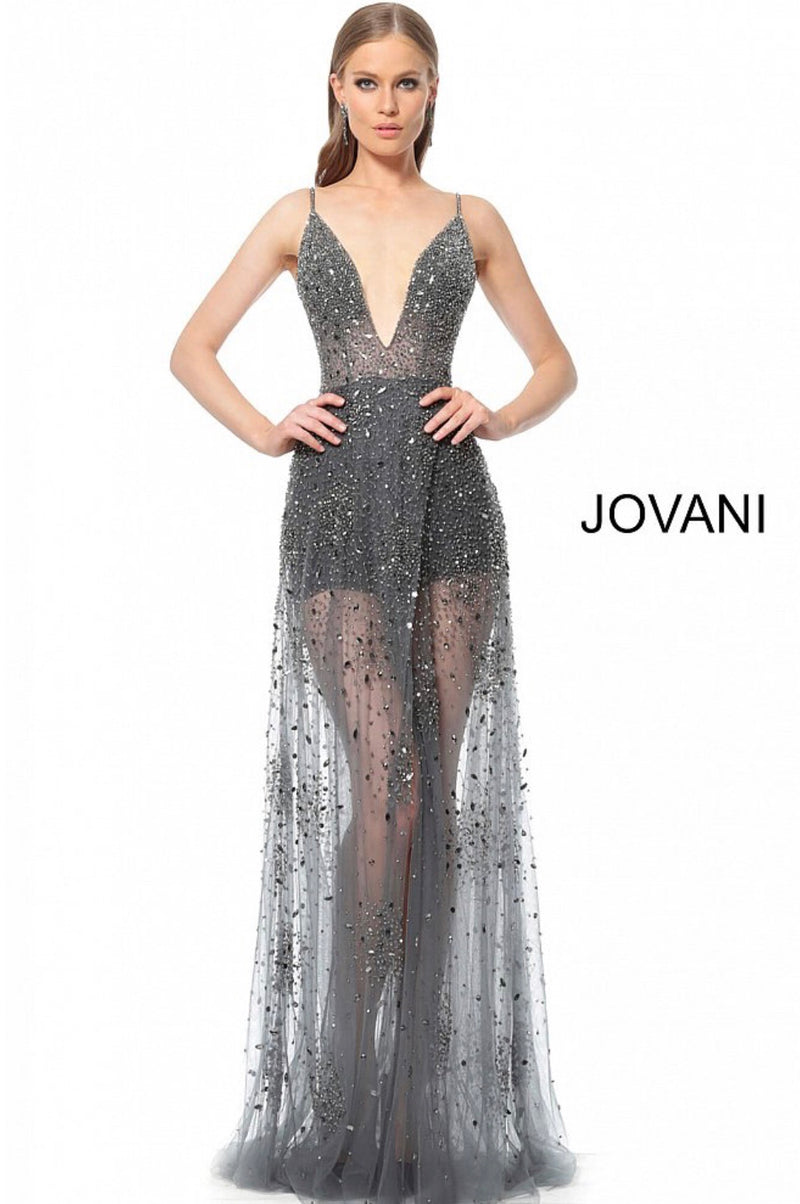 JOVANI 65259 Beaded Low V-Neck Sheer Evening Dress - CYC Boutique