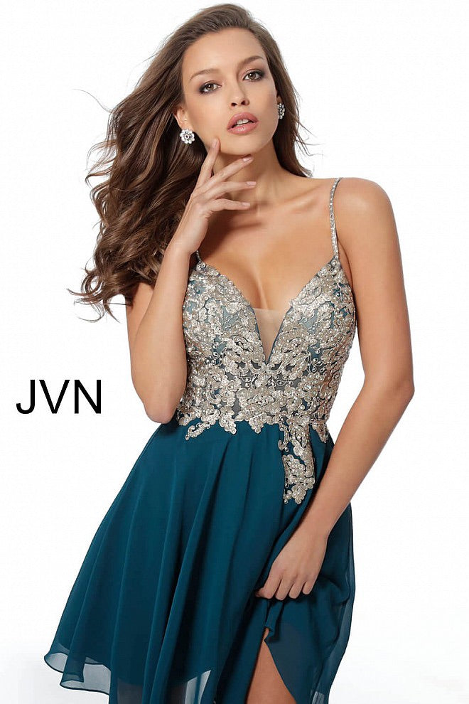 JOVANI JVN62738 Embroidered Bodice Chiffon Party Dress - CYC Boutique