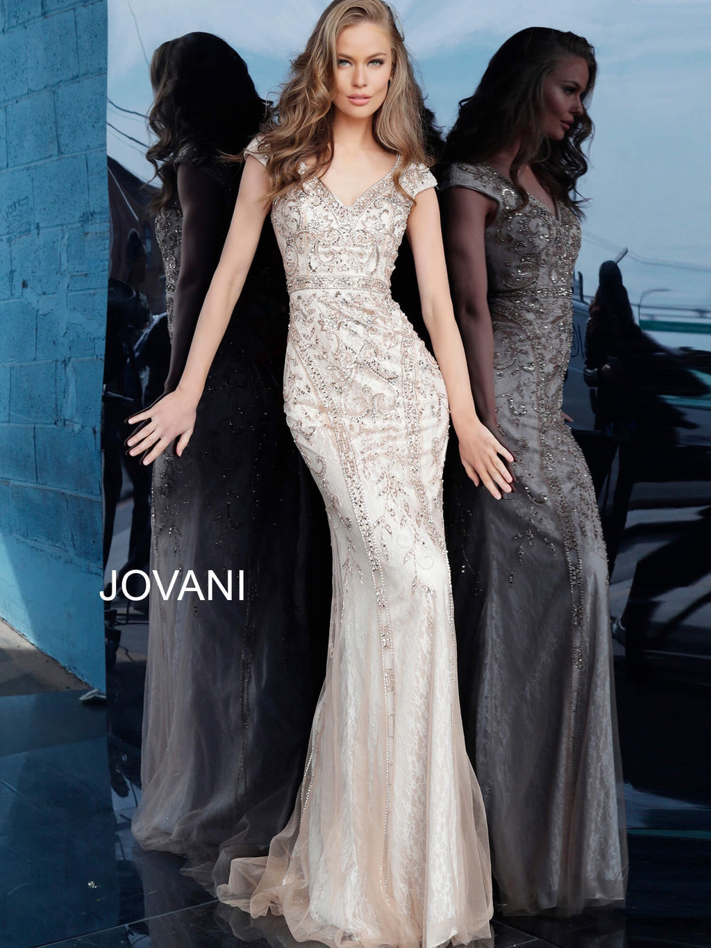 JOVANI 62720 Beaded Form Fitting V Neck Evening Dress - CYC Boutique