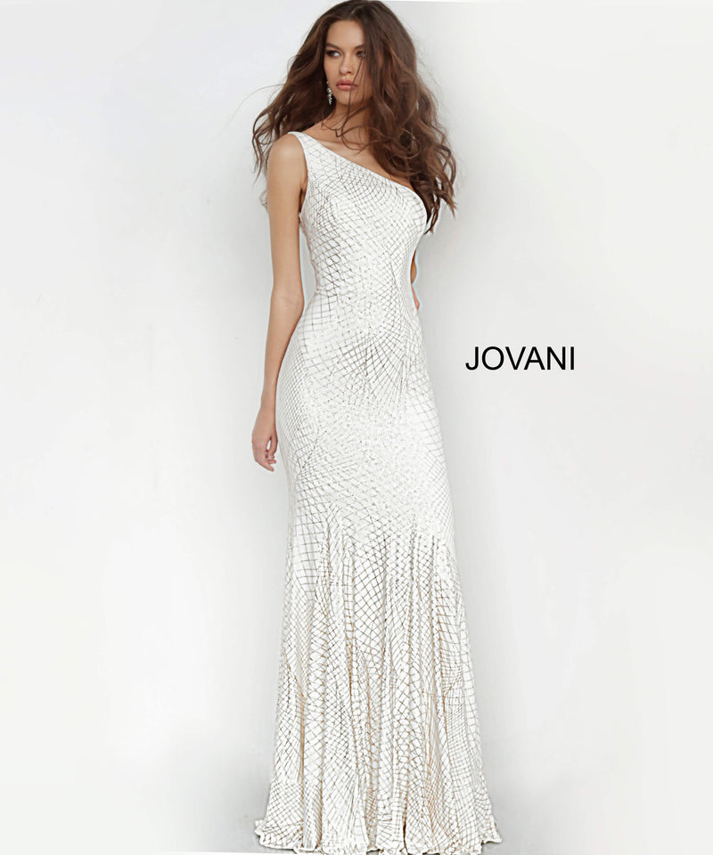 JOVANI 1119 One Shoulder Fitted Evening Dress - CYC Boutique