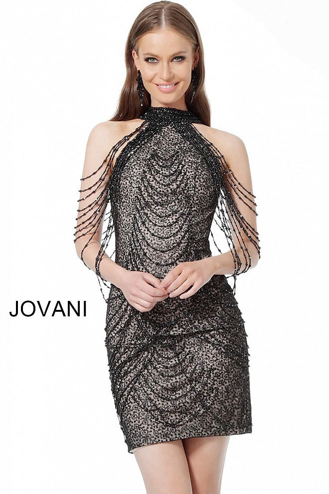 JOVANI 1677 Embellished High Neck Cocktail Dress - CYC Boutique