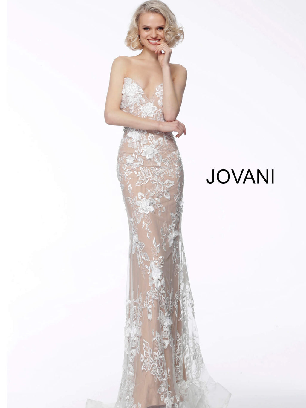 JOVANI 64031 Floral Appliqué Strapless Dress