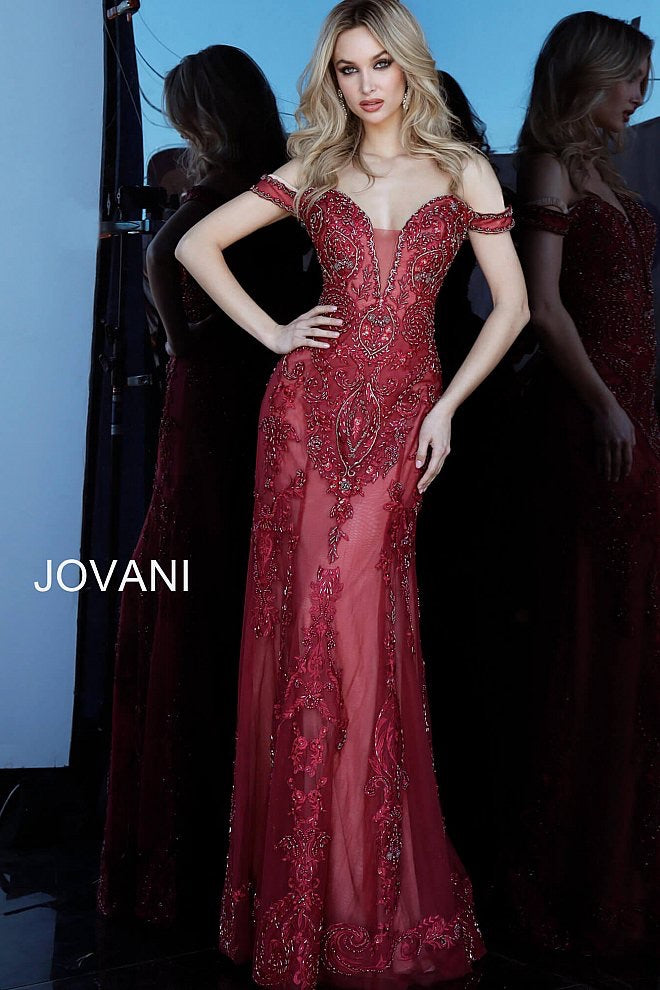 JOVANI 60863 Off the Shoulder Plunging Neck Evening Dress - CYC Boutique