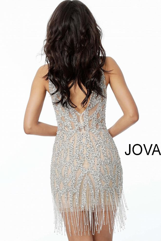 JOVANI 61572 Beaded Plunging Neckline Cocktail Dress - CYC Boutique